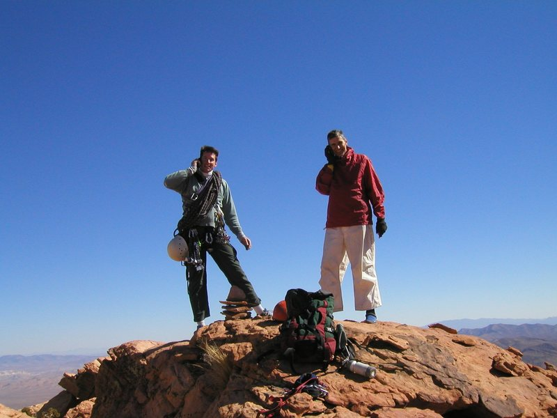 Bill and Larry DeAngelo atop Windy Peak after completing Jubilant Song