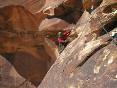 Rock Climbing Photo: Rob Gauss starting the notorious traverse pitch of...