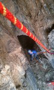 Rock Climbing Photo: Looking down from the third bolt, at the first con...