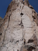 Rock Climbing Photo: Third pitch of Ruta Normal, wide crack through bea...