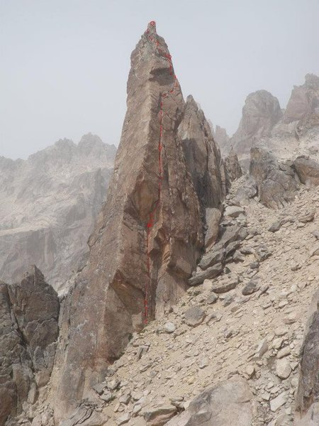 Rock Climbing Photo: North face of La Vieja, with Sudafricana marked. W...