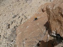 Rock Climbing Photo: Nice face climbing over orange granite on third pi...