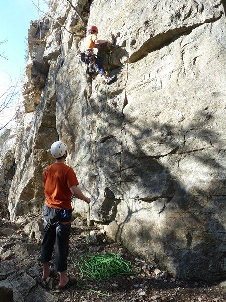 Rock Climbing Photo: Rich heading up