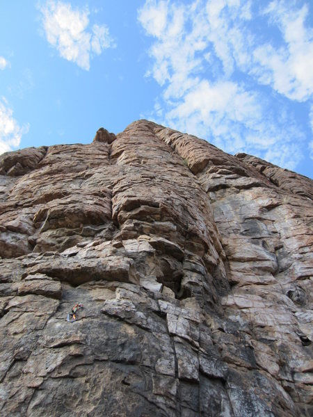 Rock Climbing Photo: Looking up at the leftmost routes
