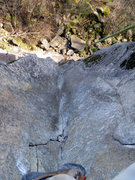 Rock Climbing Photo: View of the upper layback from the top.  Photo by ...