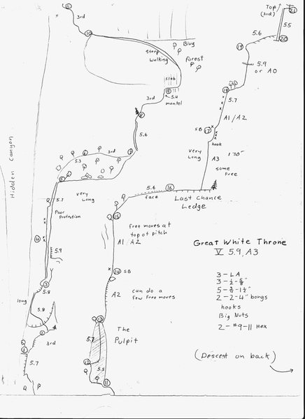 This is an old topo drawn back in the 70's. The gear list is out dated...pre-cams.