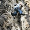 Steep, fun climbing on the second pitch of Le Massacre...