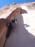 Rock Climbing Photo: Mike B. heading up the first few feet of perfect n...