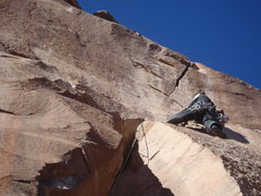 Rock Climbing Photo: Mike B. on the first ascent.