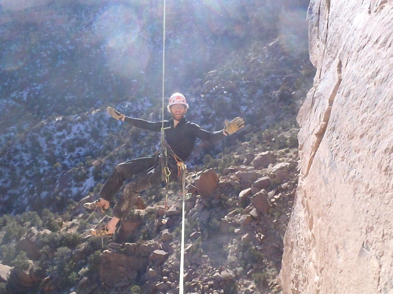Rock Climbing Photo: Getting lowered out from the final roof crack anch...