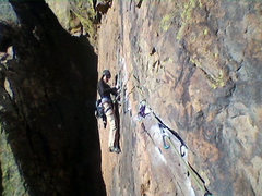 Rock Climbing Photo: Tammy starting P1 Traverse of Rosy