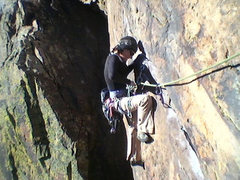 Rock Climbing Photo: Cleaning on P1 of Rosy... delicate balance on such...