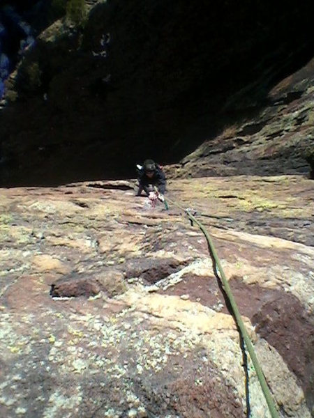 Tammy heading up the thin crack line on P2 of Rosy