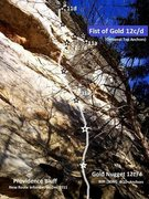 Rock Climbing Photo: Gold Nugget heads up and left after fifth bolt, wh...