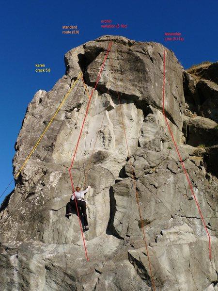 Showing three climbs on Karen Rock