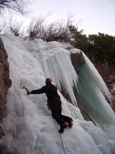 Climbing at Firehouse Falls in Vail CO.  With Mike C. 12-19-2011