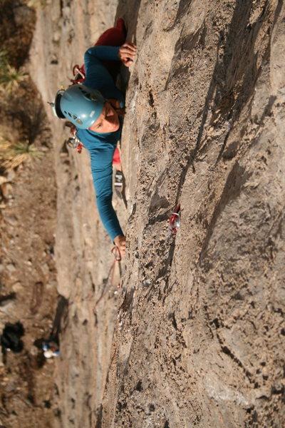 Rock Climbing Photo: Desi moving through the crux on The Bat