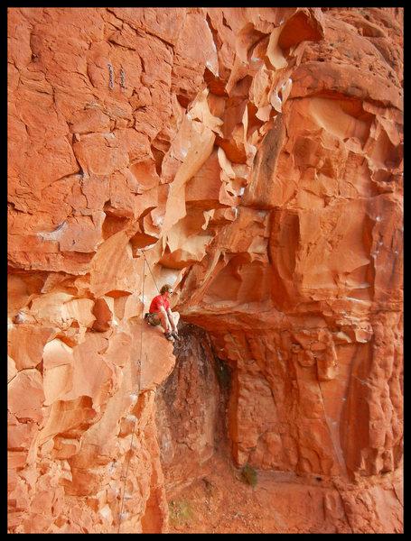 Rock Climbing Photo: Tim Emmett enjoys the nice sit-down rest on Gravit...