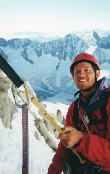 Heading down from the summit of Aiguille Verte.  French Alps 2000.  Photo by Todd Miller.  Thanks Todd!