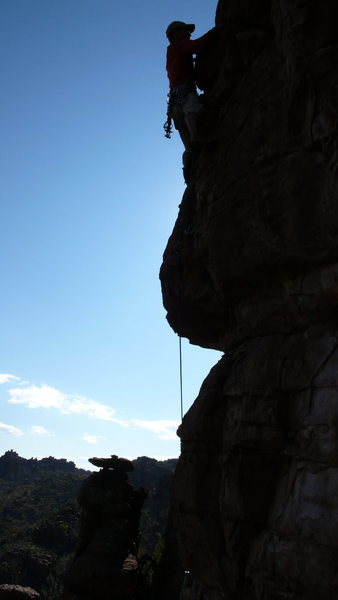 Rock Climbing Photo: AMH after clearing the upper bulge.