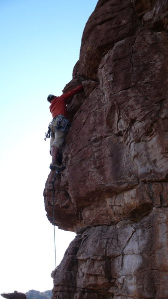 Rock Climbing Photo: Arjun above the vertical crack that gets you clear...