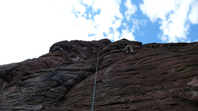 "Rock Climbing Photo: Hanna on right just past bolt on ""Cowboys and..."