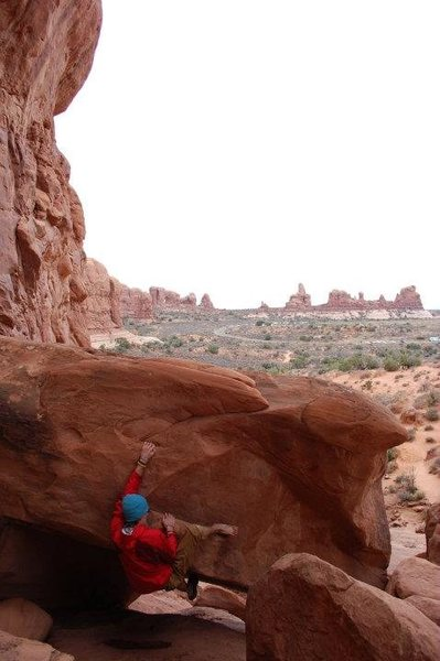 Rock Climbing Photo: one croc roc, arches national park
