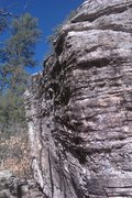 Rock Climbing Photo: Looking straight at the topout with the traverse b...