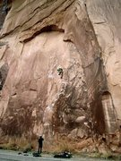Rock Climbing Photo: Knapping with the aliens; 5.12a, wall street, moab...