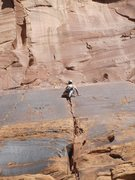Rock Climbing Photo: drew leading another perfect desert spliter; ice c...