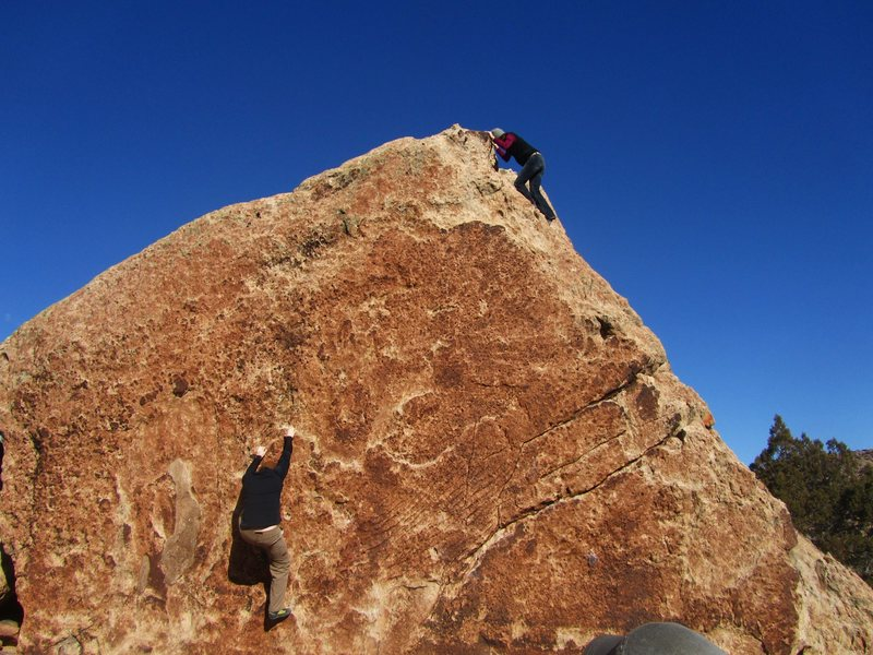 Climbing the south face of Anchor Block.