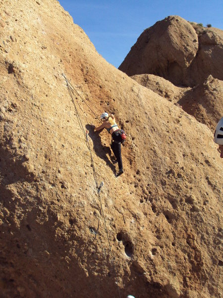 Rock Climbing Photo: Climbing and enjoying sunny warm rock on Orang-O-t...