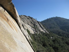 Rock Climbing Photo: 17-December-2011: below the roof on first pitch, l...