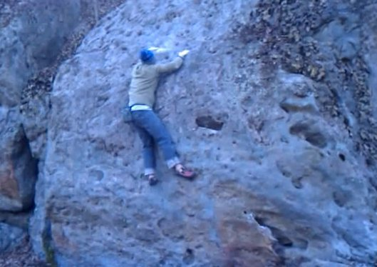 Josh Helke getting the 2nd ascent of the Trembling.