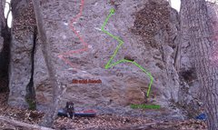 Rock Climbing Photo: Beta of the two main boulder problems in the Oaks ...