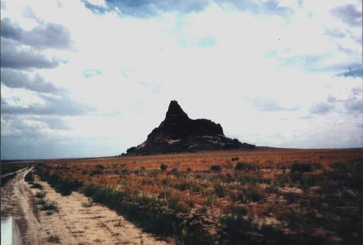 Barber Peak from the approach road off US 491 south of Shiprock.