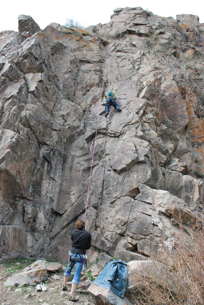 Rock Climbing Photo: Me belaying my wife on her first outdoor climb!