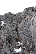 Rock Climbing Photo: JP in the descent gully down Babcock into Boren Ba...