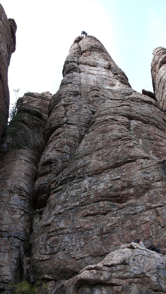 Rock Climbing Photo: DAS at the anchors. Rope line shows the route.