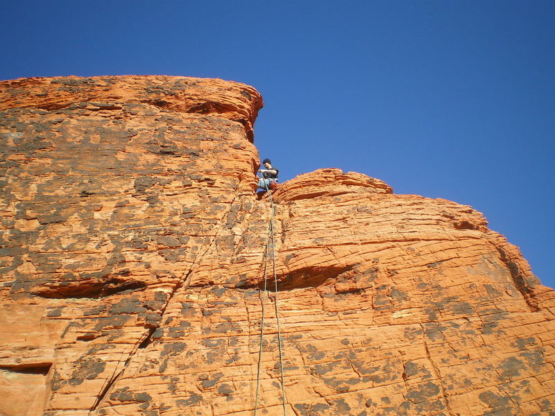 Rock Climbing Photo: mikey trying to remove someones sling left up ther...