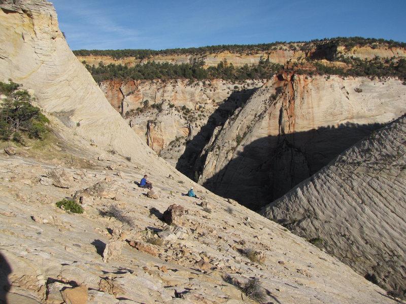 Near the summit - unroping area, Brian & Rick.