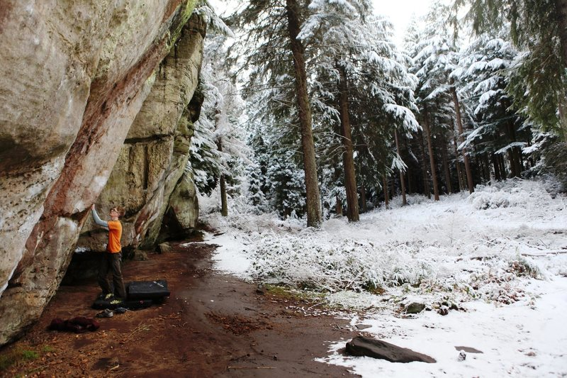 Rock Climbing Photo: The climber is standing below Crouching Tiger Hidd...