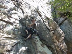 Rock Climbing Photo: Porter warming up on Pudd's Purty Dress 5.12 09-20...