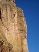 "Rock Climbing Photo: Eben leading ""Cornerstone""."