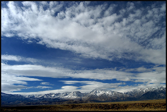 The Sierras from The Volcanic Tablelands.<br> Photo by Blitzo.