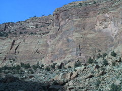 Rock Climbing Photo: Wide Open Spaces crack is visible on the left slab...