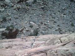 Rock Climbing Photo: Carson coming up pitch 2.