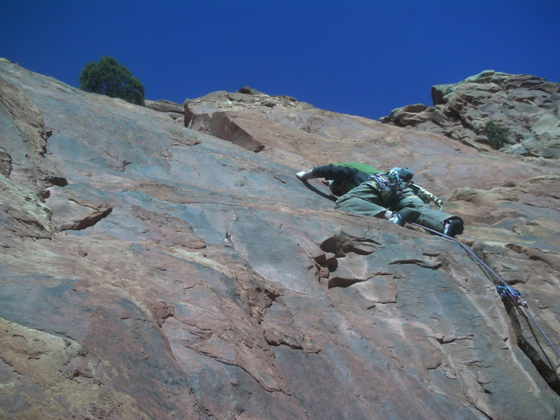 Above the crux moving into the corner.