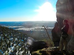 Rock Climbing Photo: Wade taking in the view from the Lunar Ledge, base...