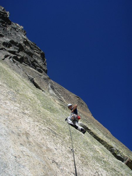 Rock Climbing Photo: Daniele H on the slabby first pitch of Mangolyto